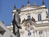 The statue of Tomas Garigue Masaryk, as he watches the entrance of the Prague Castle